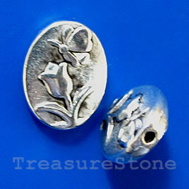 Bead, silver-finished, 8x11x2mm flat oval. Pkg of 10.