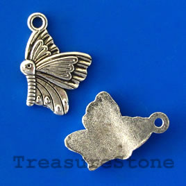 Charm/pendant,silver-plated, 14x18mm butterfly. Pkg of 12.