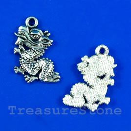 Pendant/charm, silver-finished,13x17mm dragon. Pkg of 12.
