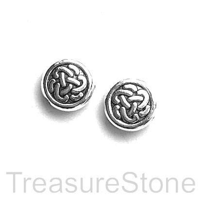 Bead, silver finished. 10mm flat round, celtic knot. Pkg of 12.
