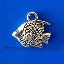 Charm/pendant, silver-plated, 10x14mm fish. Pkg of 15.