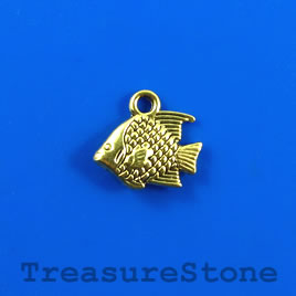 Charm, gold-finished, 10x13mm fish. Pkg of 12.
