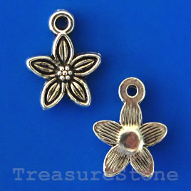 Charm/pendant, silver-plated, 10mm flower. Pkg of 16.