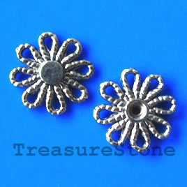 Bead, antiqued gold-finished, 14x1mm flower. Pkg of 15.
