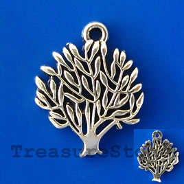 Pendant/charm, silver-finished, 20mm tree. Pkg of 6.
