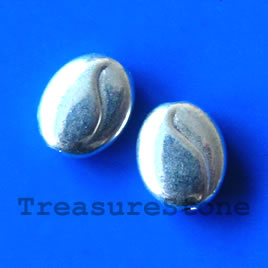 Bead, silver-finished, 8x10mm puffed oval. Pkg of 15.