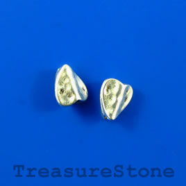 Bead, silver finished heart, 8x10x5mm. Pkg of 16.