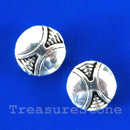 Bead, silver-finished, 10mm puffed round. Pkg of 15.
