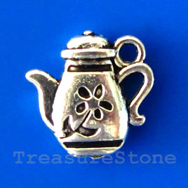 Charm/pendant, silver-plated, 13x14mm teapot. Pkg of 12.
