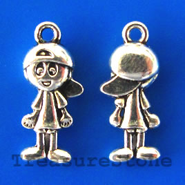 Charm/pendant, silver-plated, 6x21mm boy. Pkg of 12.