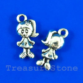 Pendant/charm, silver-finished, 7x13mm girl. Pkg of 15.