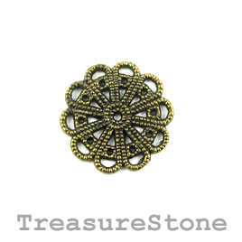 Charm/Pendant/connector, brass-plated, 23mm filigree. Pack of 8.