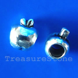 Bead, silver-finished, large hole, 8x10mm apple. 10pcs