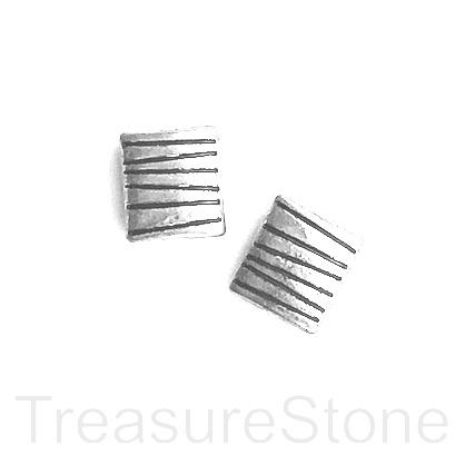 Bead, silver-finished, 9x10mm puffed rectangle. Pkg of 10.