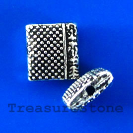 Bead, silver-finished,9x10mm puffed rectangle. Pkg of 12.