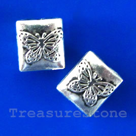 Bead, silver-finished,9x10mm puffed rectangle. Pkg of 15.