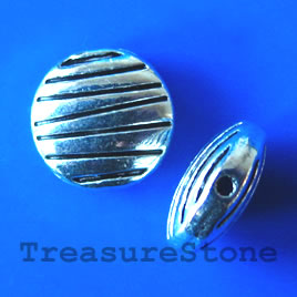 Bead, antiqued silver-finished, 10x3mm. Pkg of 12.