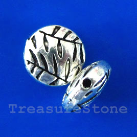 Bead, silver-finished, 10x4mm puffed round. Pkg of 12.
