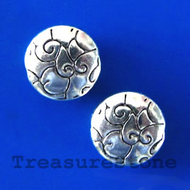 Bead, antiqued silver-finished, 10x4mm round. Pkg of 12.