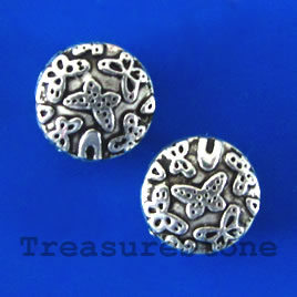 Bead, silver-finished, 10x4mm flat round. Pkg of 15.