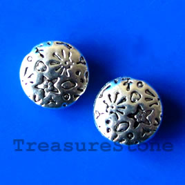 Bead, antiqued silver-finished, 10x4mm. Pkg of 14