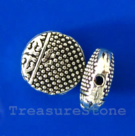 Bead, silver-finished, 10x4mm flat round. Pkg of 12.