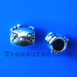 Bead, antiqued silver-finished, large hole, 8mm cat. Pkg of 10.