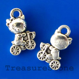 Pendant/charm, silver-finished, 7x10mm cat. Pkg of 20.