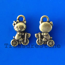 Pendant/charm, brass-finished, 7x10mm cat. Pkg of 20.