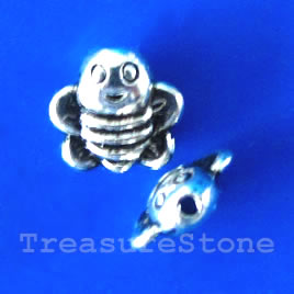 Bead, antiqued silver-finished, 9x3mm bee. Pkg of 15.