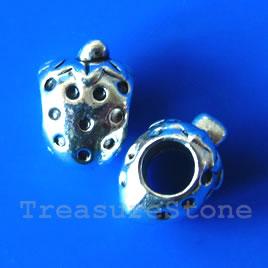 Bead, silver-finished, large hole, 9x14mm strawberry. Pkg of 10.