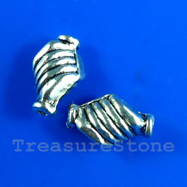 Bead, antiqued silver-finished, 7x10mm twist. Pkg of 18.