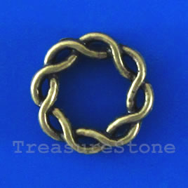 Bead, antiqued brass finished, 15x3mm. Pkg of 14.