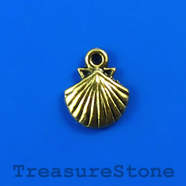 Charm, gold-finished, 12mm shell. Pkg of 15.