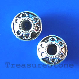 Bead, antiqued silver-finished, 8x4mm. Pkg of 20.
