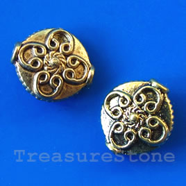 Bead, antiqued gold-finished, 13x15x5mm. Pkg of 6.