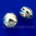 Bead, silver-finished, 10x8mm. Pkg of 6.