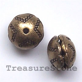 Bead, antiqued brass finished, 10x8mm. Pkg of 6.