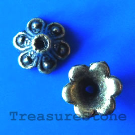 Bead cap, antiqued brass finished, 10x6mm. pkg og 16.