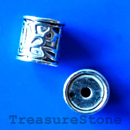 Bead, antiqued silver-finished, 8x9mm tube. Pkg of 6.