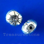 Bead, antiqued silver-finished, 7x6x5mm. Pkg of 20.