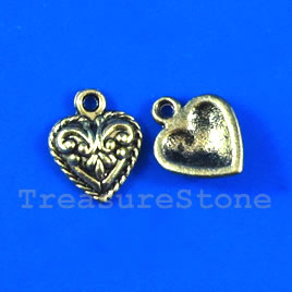 Pendant/charm, gold-finished, 11mm heart. Pkg of 16.