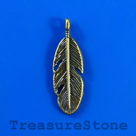 Charm/pendant, blue-colored, 10x24mm feather. Pkg of 9.
