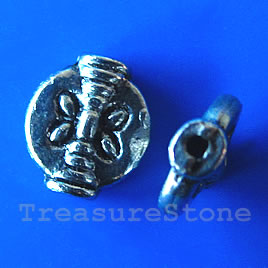Bead, antiqued silver-finished, 8x9mm. Pkg of 15.