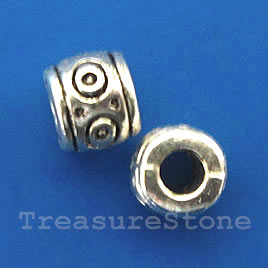 Bead, antiqued silver-finished, large hole, 6mm tube. Pkg of 18.