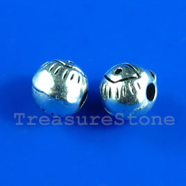 Bead, antiqued silver-finished, 6mm round. Pkg of 20.