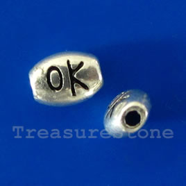 Bead, antiqued Silver Finished, 7x5mm, OK. Pkg of 20.