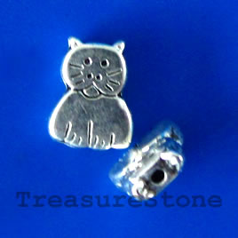 Bead, antiqued silver-finished, 8x11x3mm cat. Pkg of 15.