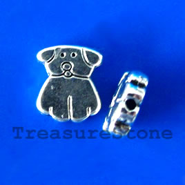Bead, antiqued silver-finished, 9x11x2mm dog. Pkg of 15.