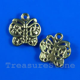 Pendant/charm, gold-finished,13x15mm butterfly. Pkg of 14.